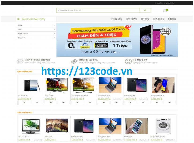 Source code kèm báo cáo website bán hàng php CodeIgniter Framework