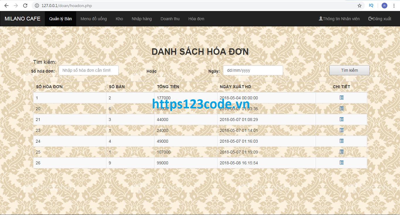 Source code phần mềm quản lý quán cafe php full data - đồ án tốt nghiệp