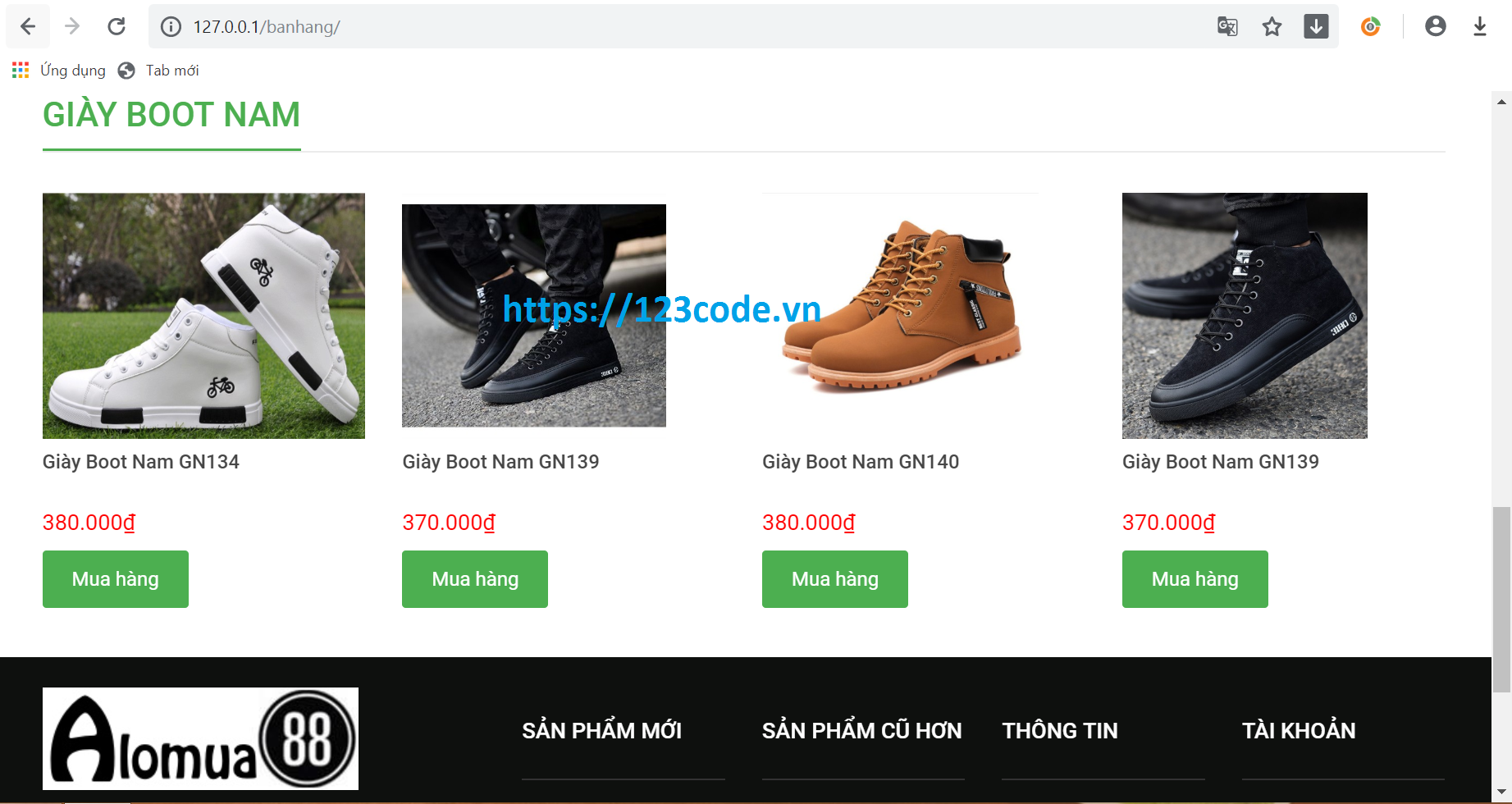 Source code website bán giầy php CodeIgniter full data