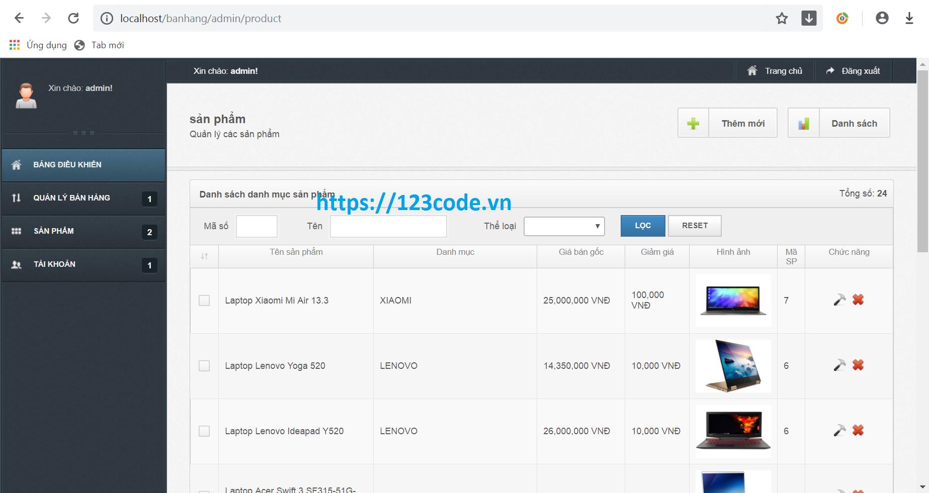 Source code website bán máy tính php CodeIgniter Framework