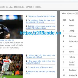 Tải code website tin tức bóng đá php CodeIgniter full code
