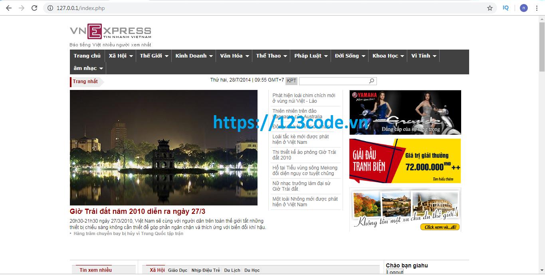 Tải miễn phí source code website tin tức php gần giống VnExpress 1