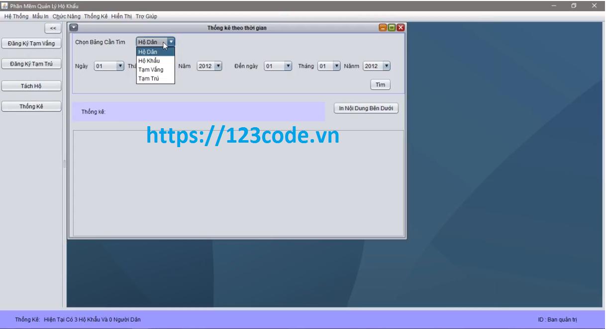 Tải source code quản lý nhân khẩu java full database