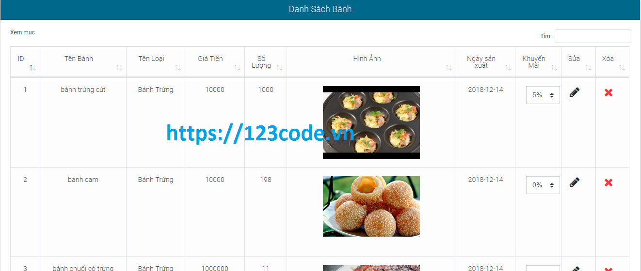 Tải source code website bán bánh php laravel full data