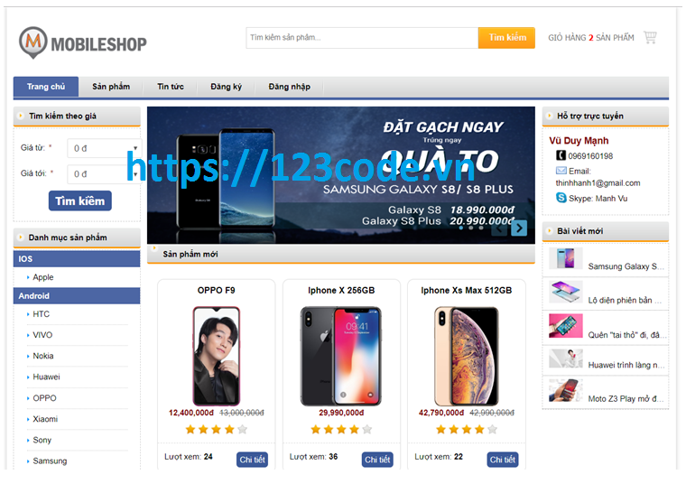 Đề tài quản lý bán hàng điện thoại php CodeIgniter Framework có báo cáo