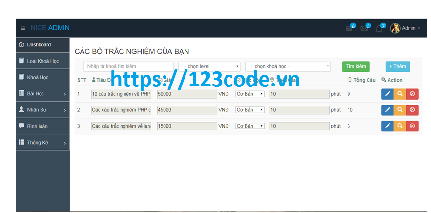 Báo cáo kèm source code khóa học online javascript full data mysql