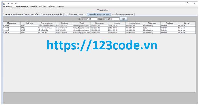 Báo cáo kèm source code quản lý đồ án java