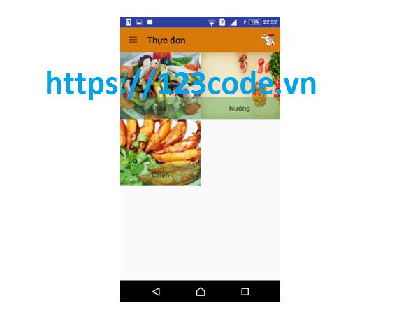 Báo cáo và source code app gọi món ăn java Android