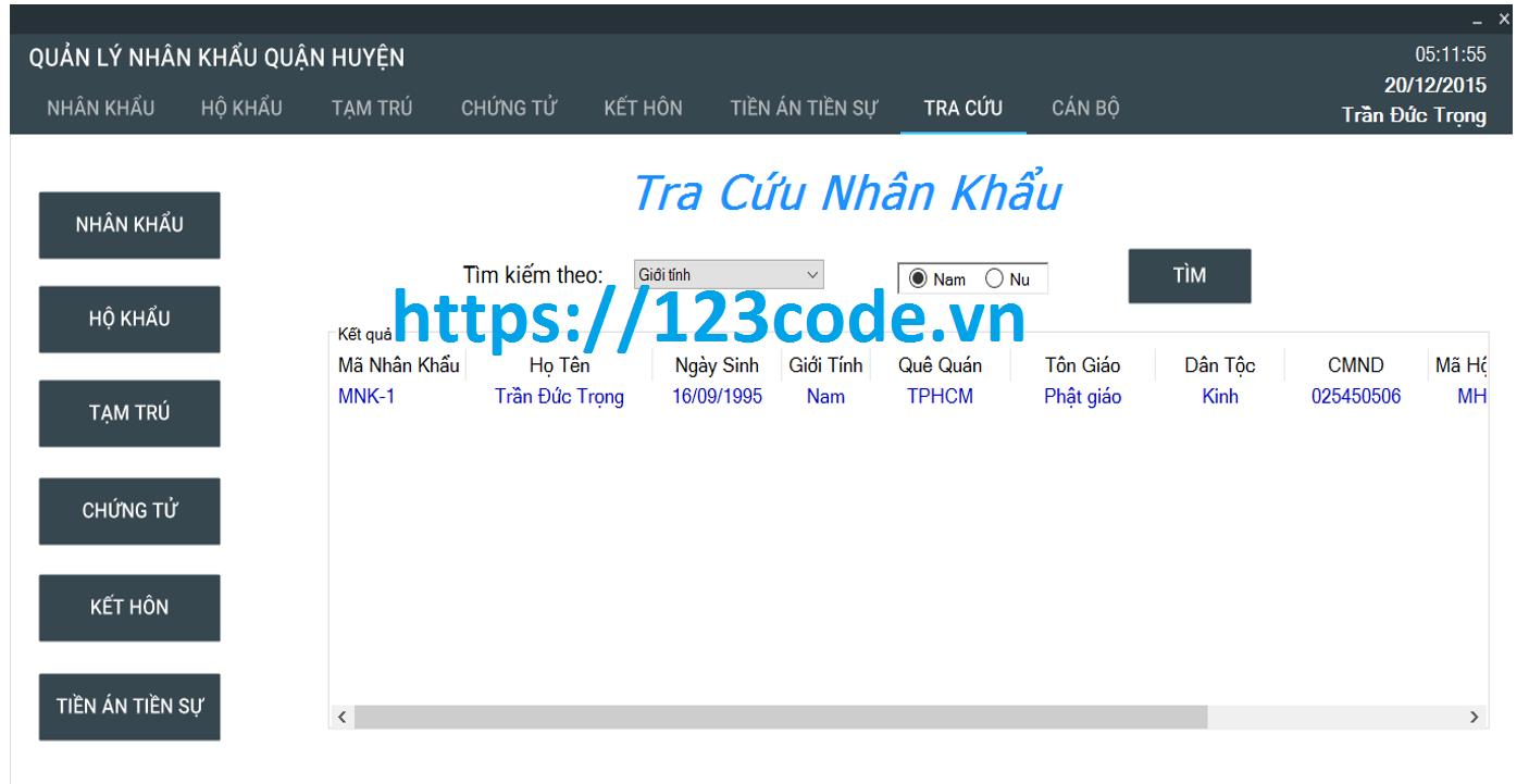 Báo cáo và source code quản lý nhân khẩu c# data mysql