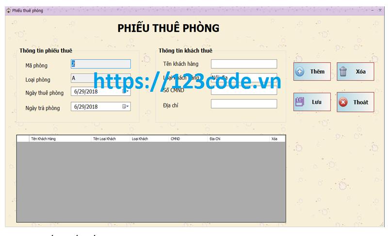 Chia sẻ source code quản lý khách sạn c# full code và báo cáo