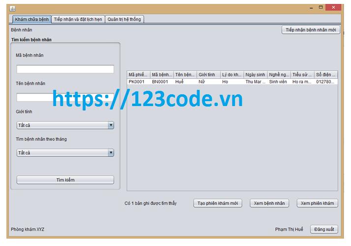 Chia sẻ source code quản lý phòng khám java full data và báo cáo