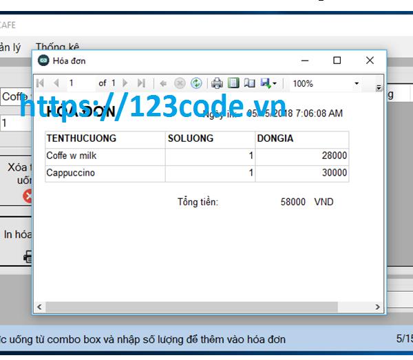 Share source code phần mềm quản lý quán cafe c# full data và báo cáo