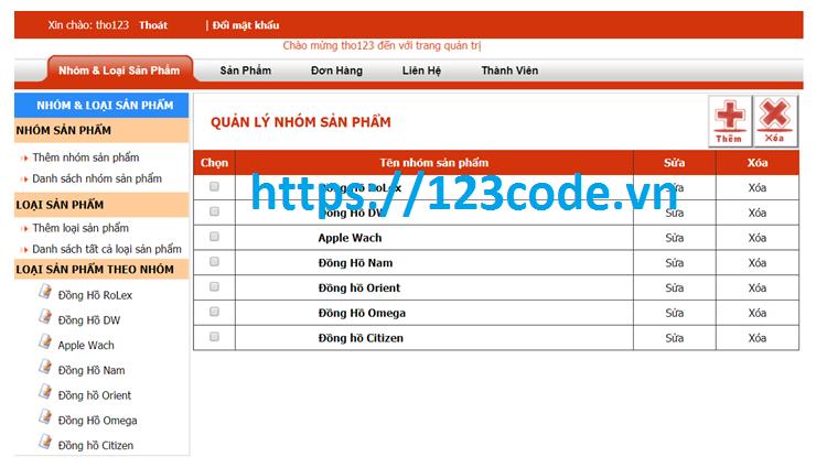 Chia sẻ source code bán hàng đồng hồ online php có báo cáo