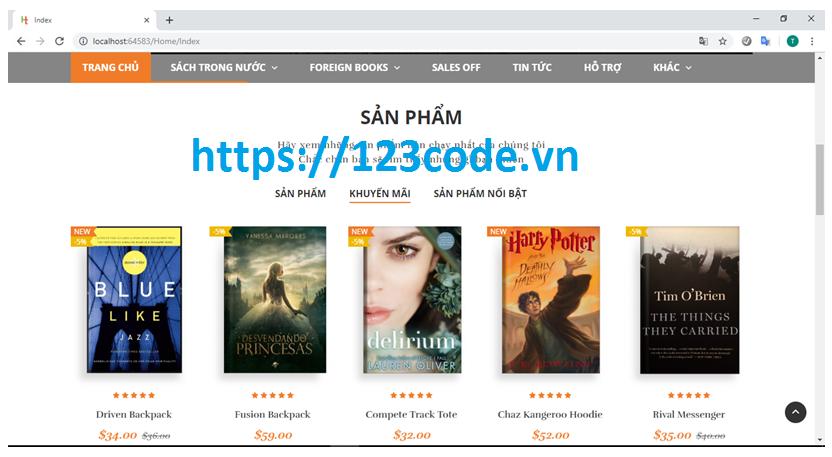 Chia sẻ source code bán sách online asp.net MVC có đầy đủ báo cáo