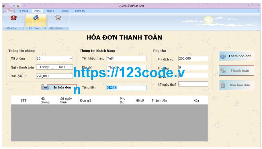 Chia sẻ source code quản lý khách sạn bằng c# có báo cáo kèm theo