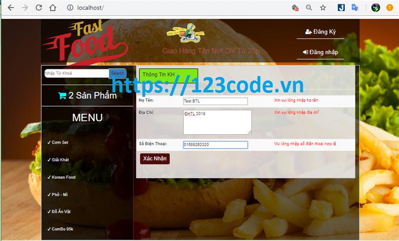 Chia sẻ source code website đặt ship đồ ăn nhanh php có báo cáo