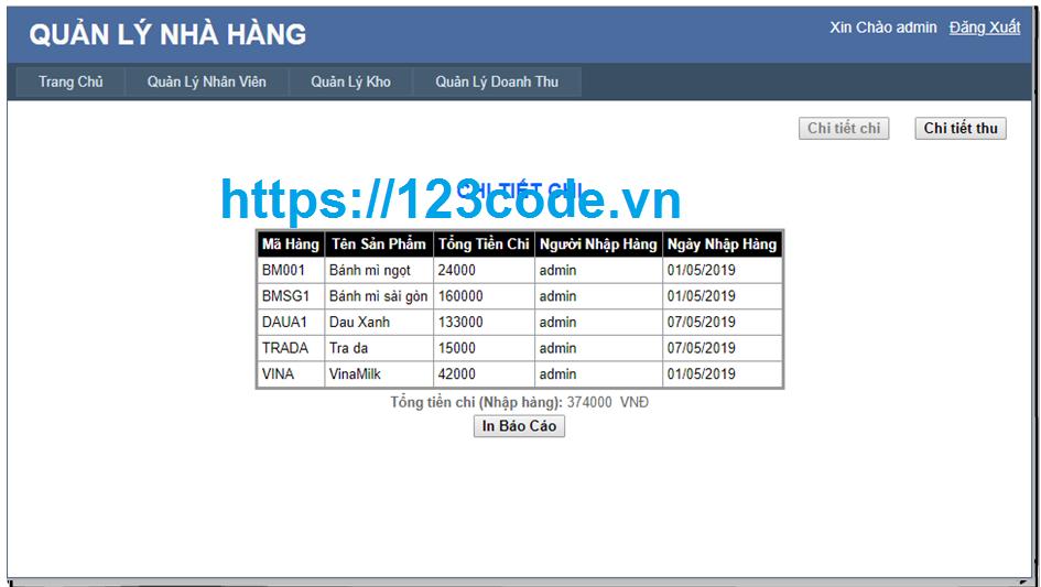 Source code quản lý nhà hàng asp.net full code và báo cáo