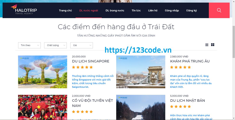 Source code website quản lý tour du lịch php full data và báo cáo