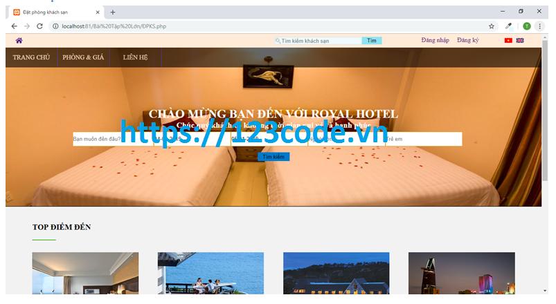 Chia sẻ source code đặt phòng khách sạn php thuần có báo cáo