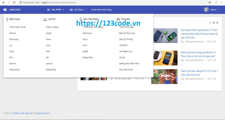 Chia sẻ source code website thương mại điện tử php laravel có báo cáo