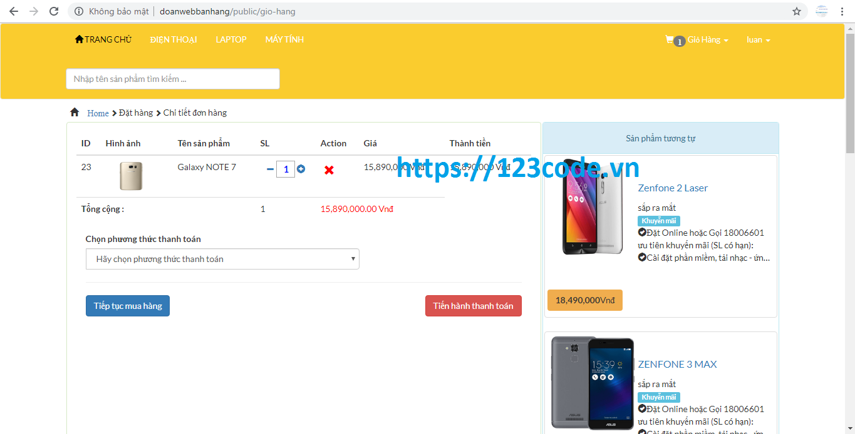 Code web bán hàng điện thoại php laravel full code