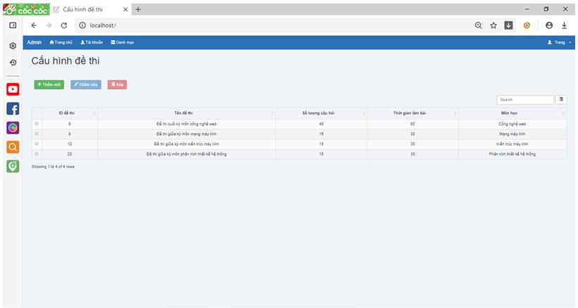 Source code hệ thống thi trắc nghiệm online php có báo cáo