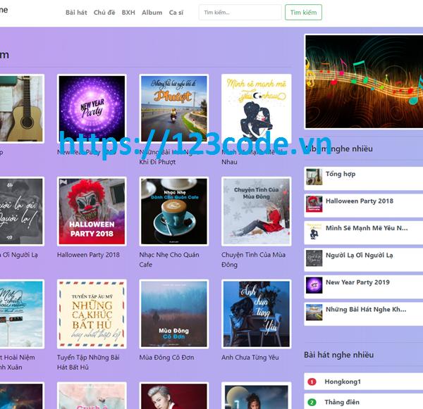 Source code website nhạc online php thuần có báo cáo