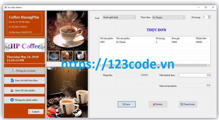 Code ứng dụng quản lý bán hàng cửa hàng coffee c#