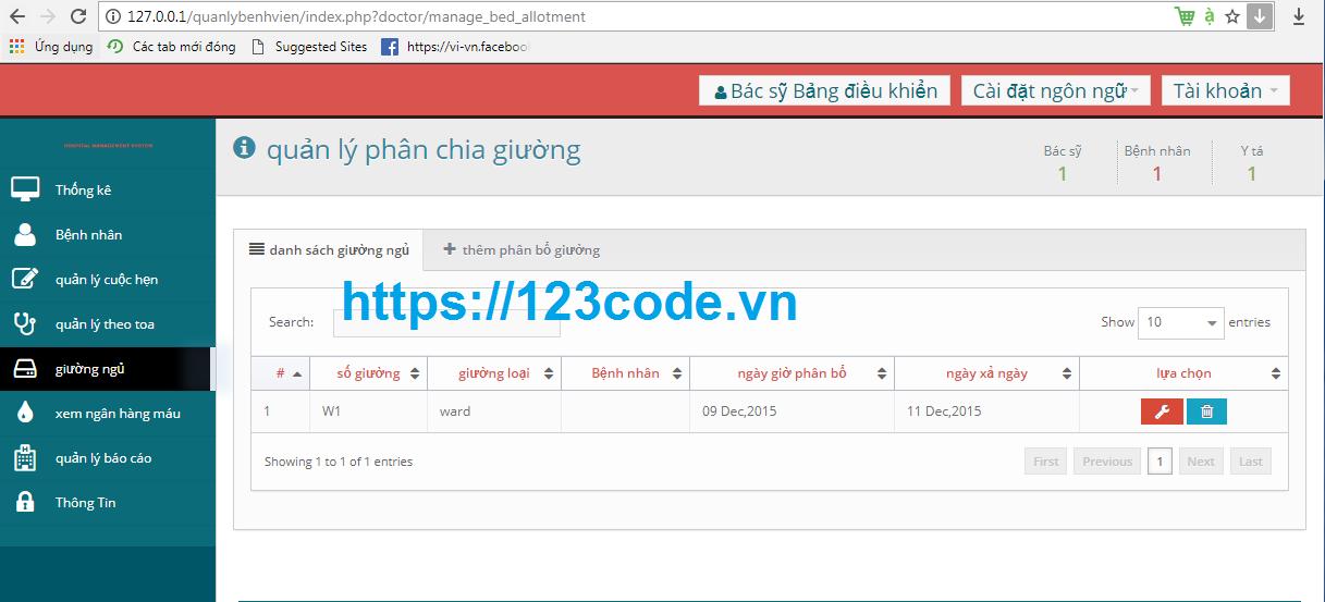 Tải miễn phí source code quản lý bệnh viện php codeigniter