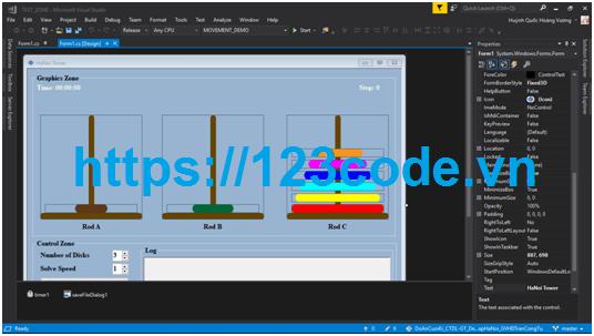 Code Demo bài toán Tháp Hà Nội sử dụng cấu trúc ngăn xếp c# có báo cáo