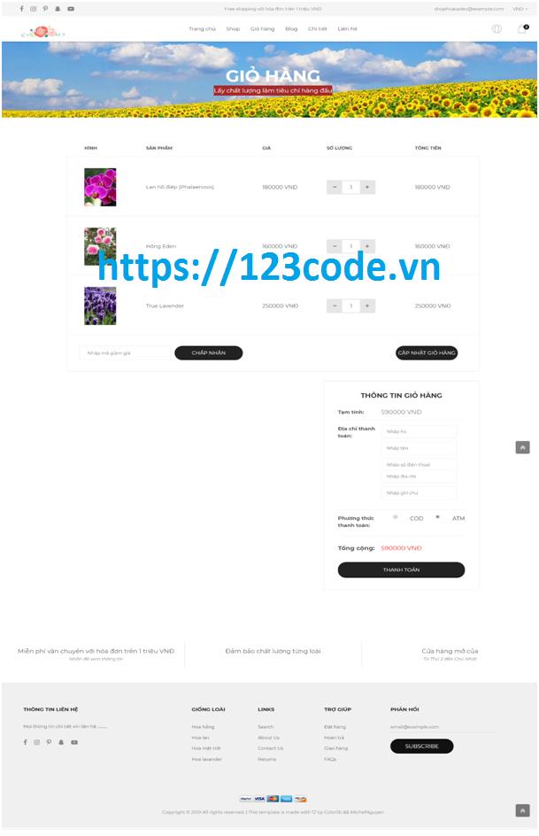 Báo cáo kèm source code website bán hoa php laravel full chức năng