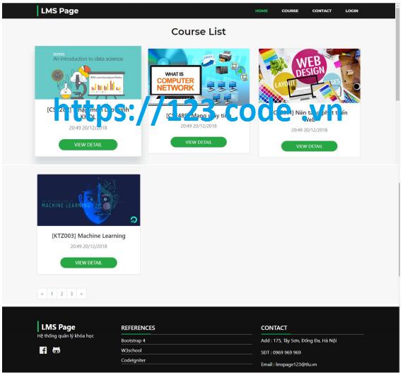 Source code đề tài quản lý khóa học online php codeigniter có báo cáo