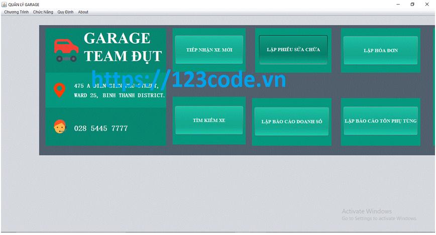Source code đồ án quản lý garage ô tô java có báo cáo