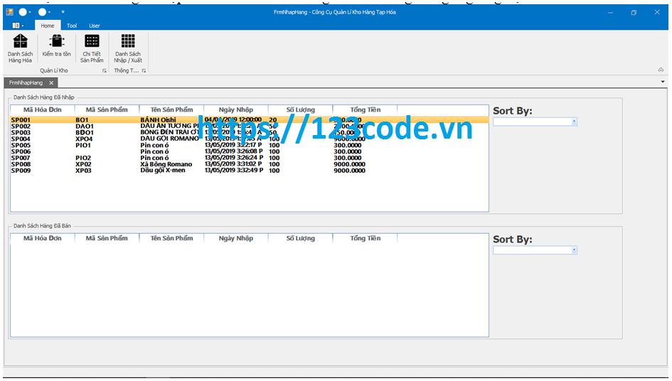 Đồ án quản lý kho hàng tạp hóa c# sql server có báo cáo