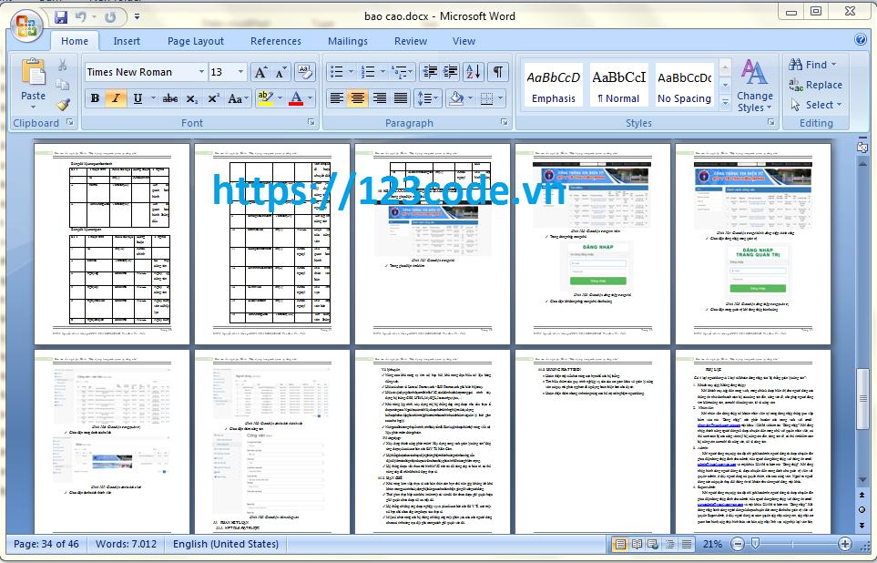 Báo cáo thực tập website quản lý công văn php laravel có báo cáo