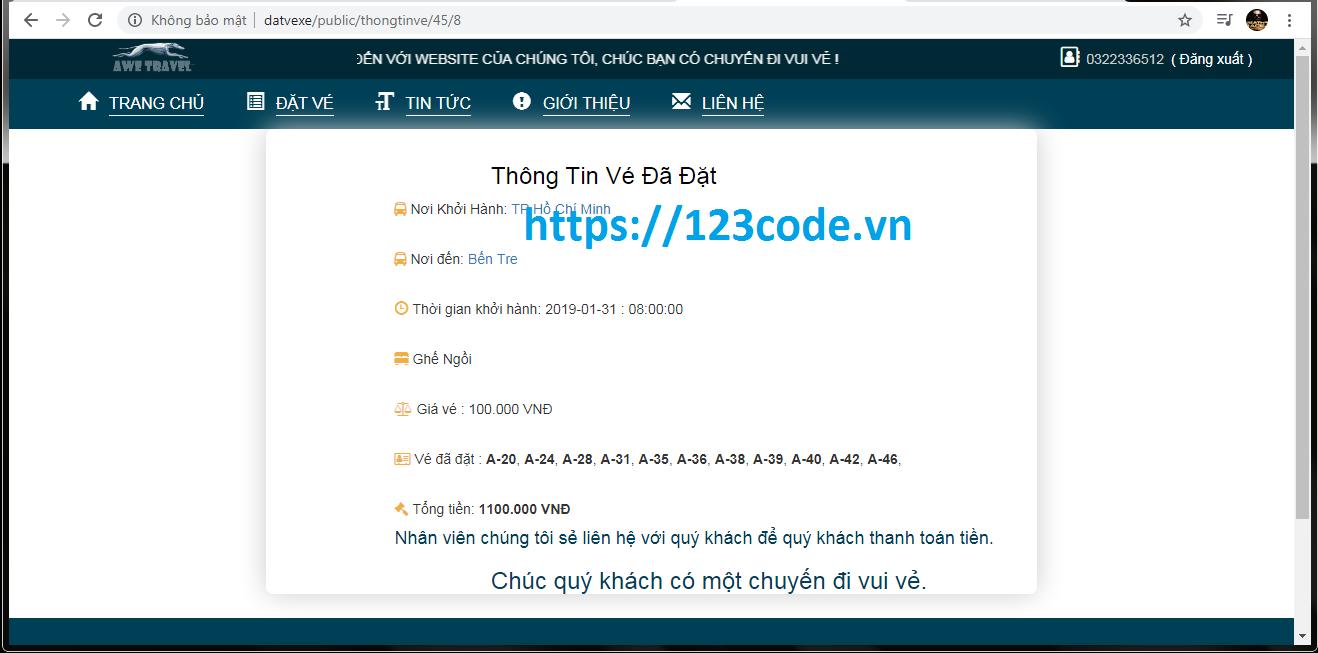 Luận văn tốt nghiệp đặt vé xe trực tuyến php laravel full code