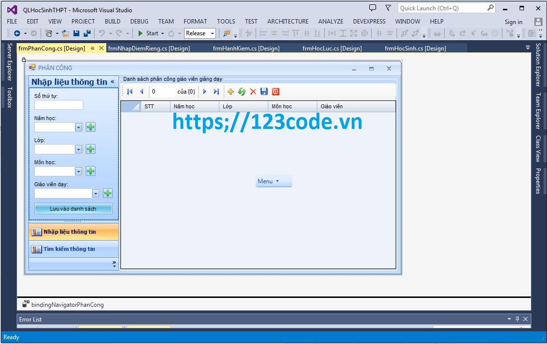 Source code phần mềm quản lý học sinh trung học phổ thông c#