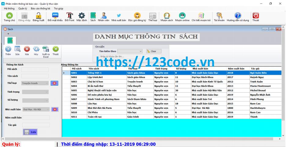 Source code phần mềm quản lý thư viện c# sql server có báo cáo