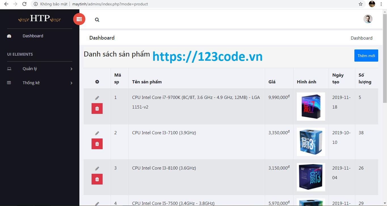 Source code website bán hàng linh kiện máy tính php thuần kết nối sql