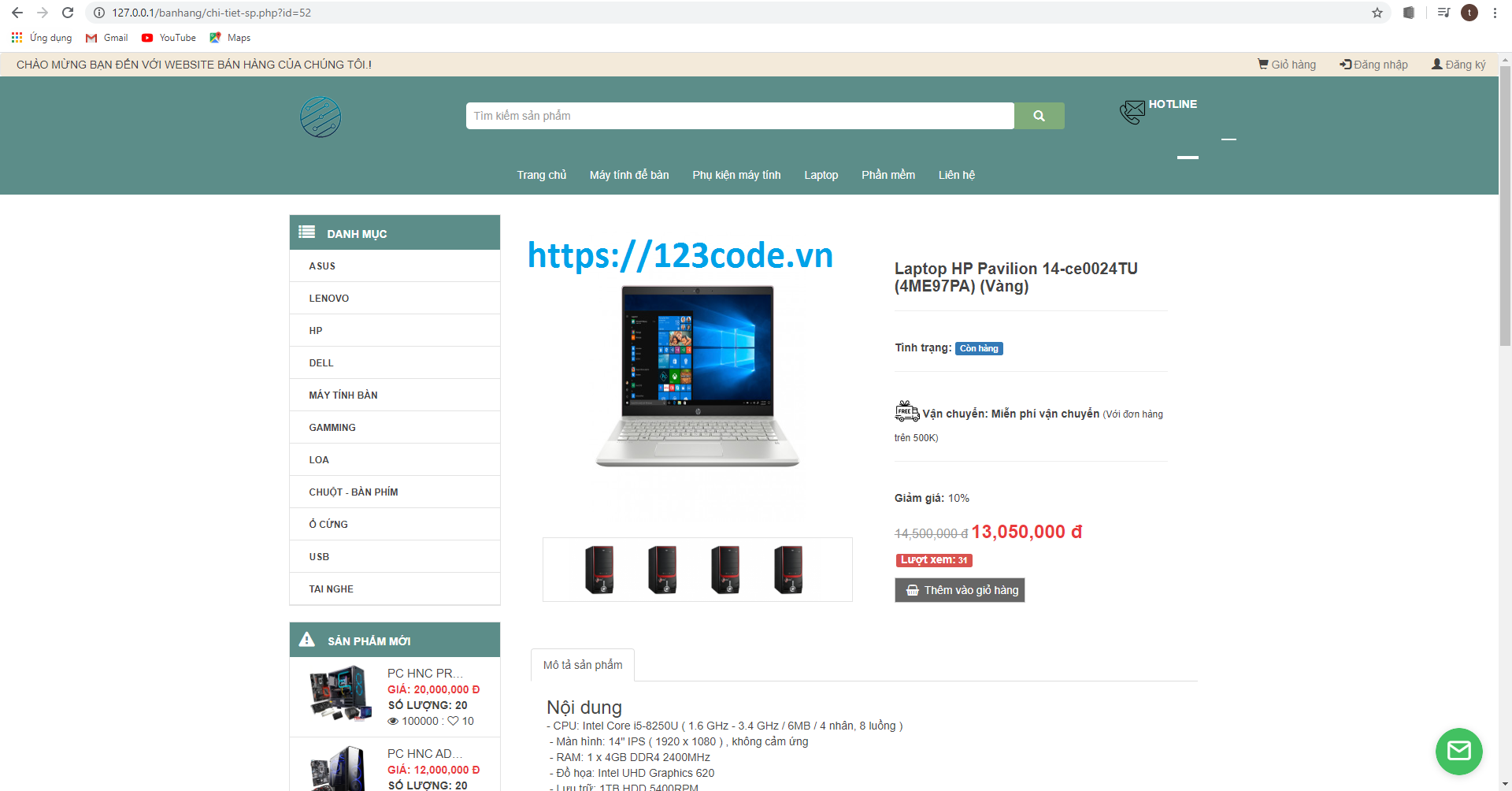 Tải source code website bán hàng máy tính php thuần có báo cáo