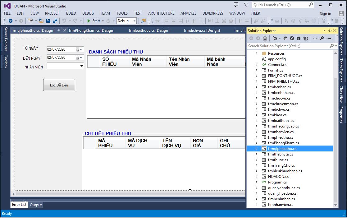 ĐỒ ÁN QUẢN LÝ PHÒNG KHÁM C#_SQL