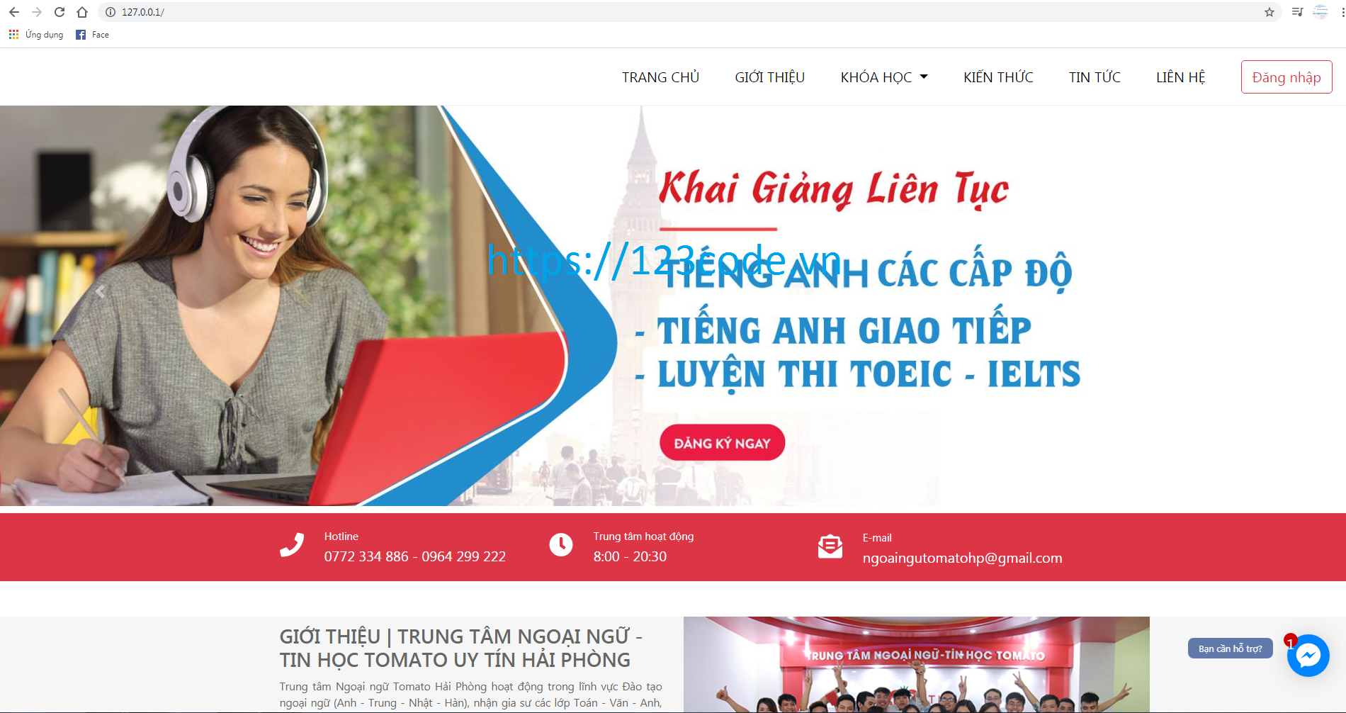 Đồ án tốt nghiệp website quản lý trung tâm tin học ngoại ngữ code php thuần có báo cáo