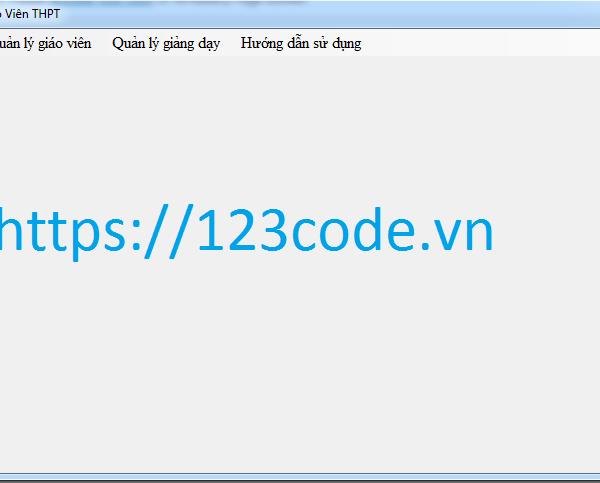 Tải miễn phí source code quản lý học sinh - giáo viên THPT c#
