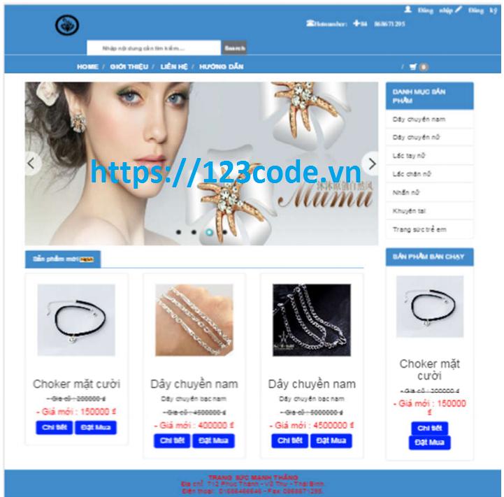 Tải source code đề tài website quản lý bán hàng đồ trang sức asp.net - mvc 5 có báo cáo