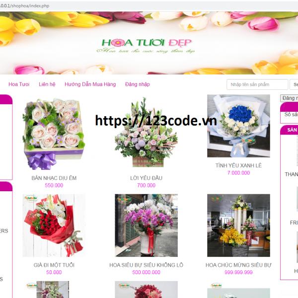Tải miễn phí source code website bán hoa tươi php thuần đầy đủ chức năng