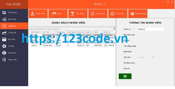 Tải source code đồ án phần mềm quản lý quán cafe c# có báo cáo