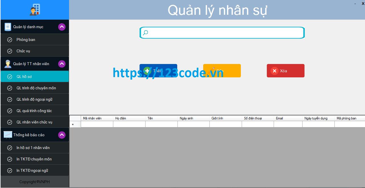 Tải source code quản lý nhân sự c# kết nối sql siêu hay