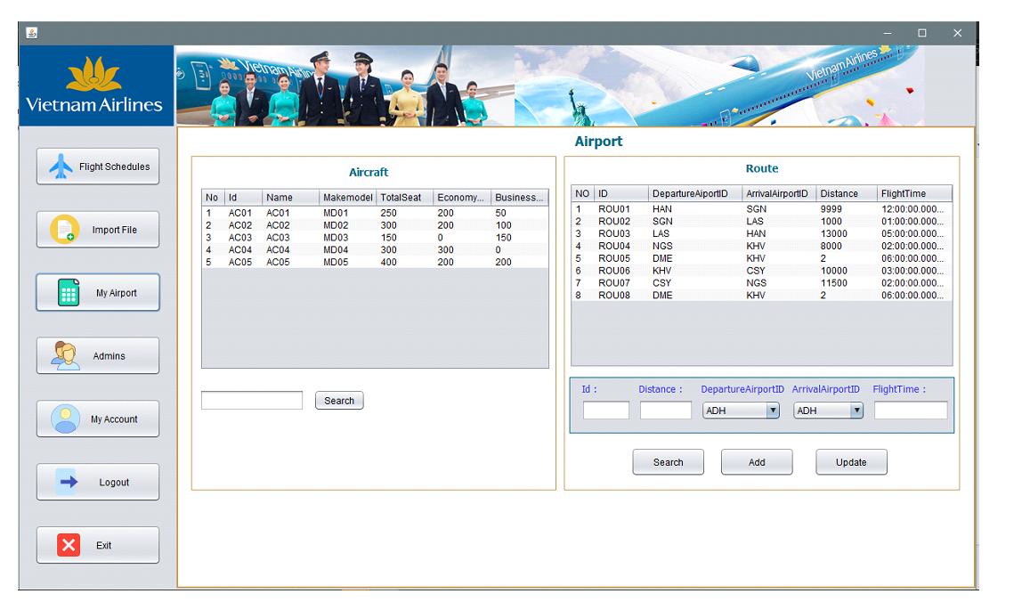 Bài tập lơn phần mềm quản lý lịch trình chuyến bay code java có báo cáo