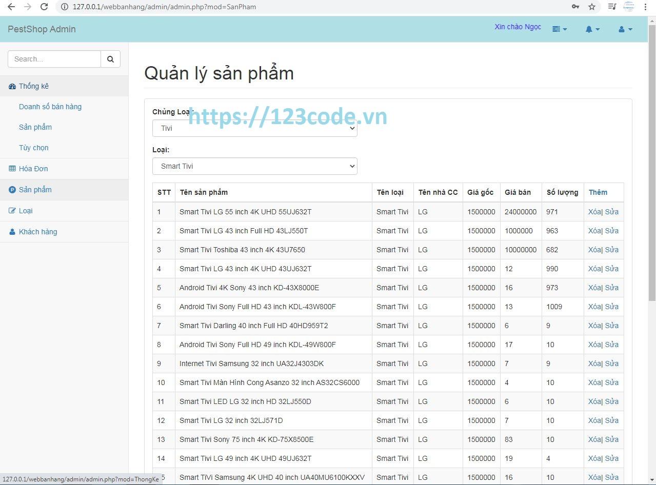 Code website bán hàng thiết bị điện tử php mysql full chức năng