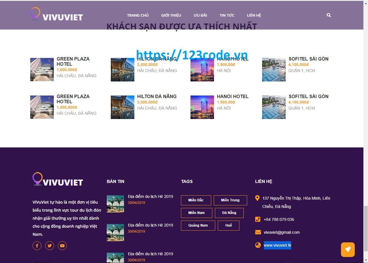 Code website giới thiệu tour du lịch HTML, CSS, Javascript tải miễn phí